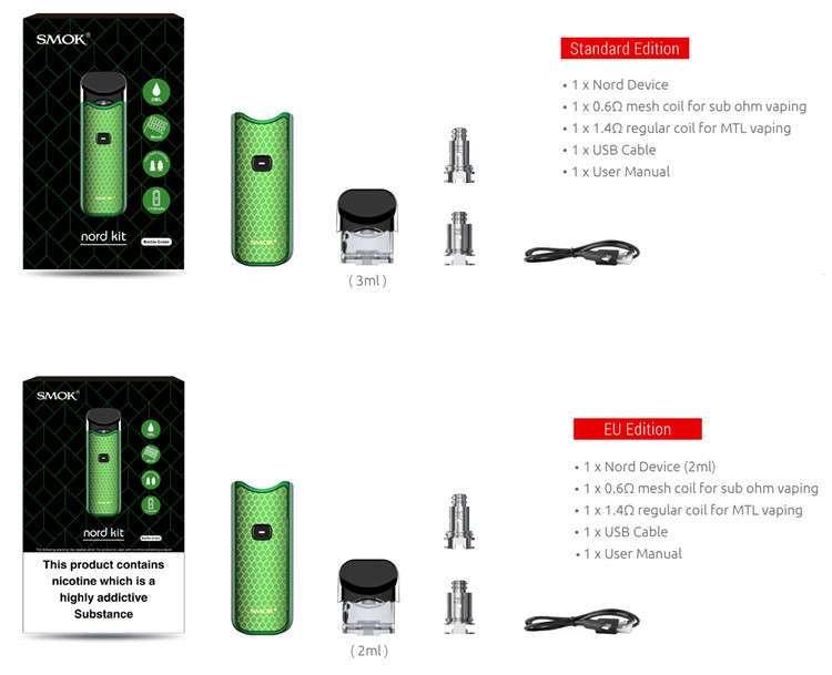 1100mAh Pod System Vape Kit Smok Nord Pod Kit 2ml 3ml
